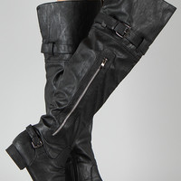 Zipper Round Toe Thigh High Riding Boot
