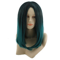 Black Mixed Green Wig Ombre Cosplay Wig