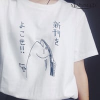 New summer fashion cute basic fish pattern Japanese style HALAJUKU wild funny short sleeve o-neck women White T-shirt