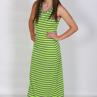 Neon Green and Gray Striped Racerback Maxi Dress