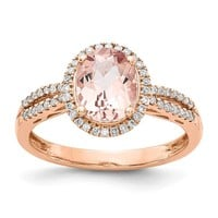 14k Rose Gold Oval Morganite & Diamond Halo Ring