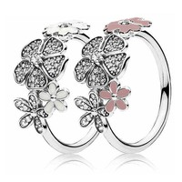 Authentic 925 Sterling Silver Ring Shimmering Bouquet Statement With Crystal Rings For Women Gift Fine Pandora Jewelry
