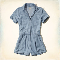 Denim Shirt Romper