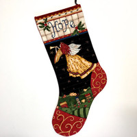 Angel Christmas Stockings - Quilted Hope Tumpet - Holiday Decor - Childrens Sock - Christmas Gold - Sally Manke Fiber Art - Ready to Ship