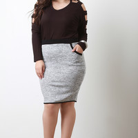 Marl Knit Contrast Pencil Skirt
