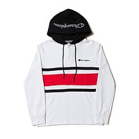 Champion Tide brand color matching men and women loose hooded hoodie White