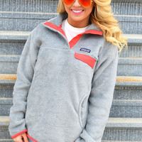 Women's Re-Tool Snap-T Fleece Pullover- Tailored Grey and Shock Pink