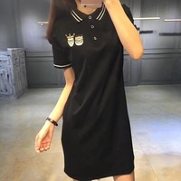 """Dolce & Gabbana"" Fashion Casual Cartoon Letter Embroidery Stripe Lapel Short Sleeve Polo Shirt Dress"