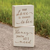 Set of 2 Honey You're All I Need & Our Love is Meant To Bee Mini Block Signs