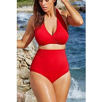 Plus Size Bikini Set Women Ladies Sexy Retro Padded Push Up High Waist Swimwear Swimsuit Bathing