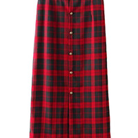 Red Plaid Button Front High Waisted Midi Skirt