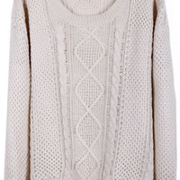 ROMWE | Twisted Cable Cream Jumper, The Latest Street Fashion