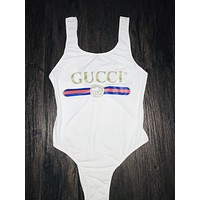GUCCI Tide brand women's one-piece swimsuit sexy Siamese high-cut bikini white