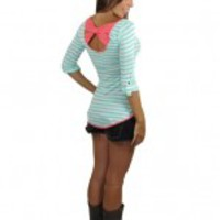 Mint And White Striped Top With Back Bow