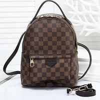 Louis Vuitton LV Woman Fashion Leather Travel Bookbag Shoulder Bag Backpack Coffee Tartan