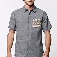 On The Byas Ethnic Tile Pocket Woven Shirt - Mens Shirt - Black