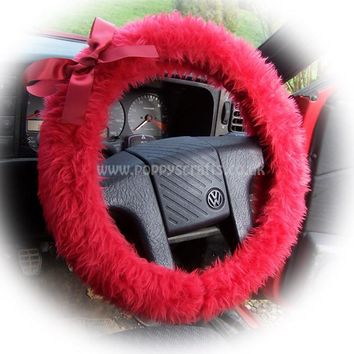 Racing red fluffy faux fur car steering wheel cover with red satin Bow