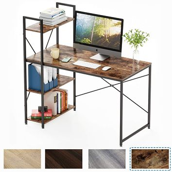 Bestier Computer Desk with Shelves,Writing Desk with Storage Bookshelf Reversible Study Table Office Corner Desk with Shelves Home Office Desk with Bookshelf Easy Assemble (47 Inch, Rustic Brown) 47 Inch