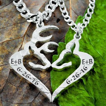 Buck and Doe Anniversary Date Couples Necklace, Custom Initials, Heart Jewelry, Hand Cut Coin