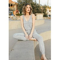 Staying In Bed Jumpsuit Heather Grey