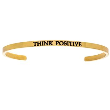 """Intuitions """"Think Positive"""" Yellow Stainless Steel Cuff Bangle Bracelet"""