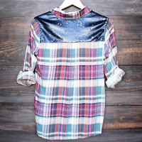 button up plaid shirt with dazzling blue + silver sequins