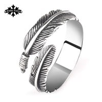 Vintage punk feather open rings lovers pinky stainless steel  fashion little finger tail women jewelry
