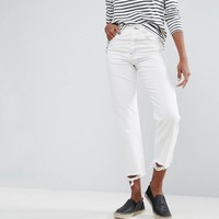 ASOS FLORENCE Authentic Straight Leg Jeans in Off White with Extreme Dishevelled Hems at asos.com
