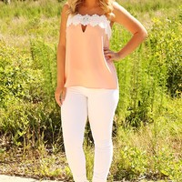 Love Me More Top: Peach/White
