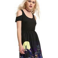 The Nightmare Before Christmas Halloween Town Border Cold Shoulder Dress