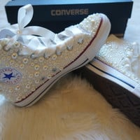 Off White Pearl Wedding, Bride, Bridesmaid, Prom, sweet 16 Crystal Converse - FREE USA SHIPPING