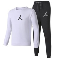 Jordan Autumn and winter new fashion print long sleeve top and pants couple sports leisure two piece suit White