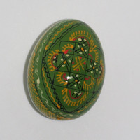 Easter Egg / Pysanky / Vintage Hand painted decorative egg / pysanka pisanka / Wood egg wooden egg, hand craved Folk Polish egg, cross