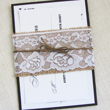 White Lace and Burlap Belly Band Rustic Country Shabby Chic Wedding Invitation