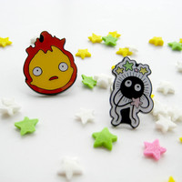 Set of two Studio Ghibli pins - Howl's Moving Castle Calcifer and Soot Sprite Pin