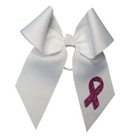 Large White Short Tail Bow with Breast Cancer Awareness Ribbon