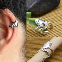 2015 New Chic Fashion 1PCS Punk Gold Silver Tone Frog Cuff Ear Clip Wrap Earring Jewelry 2 Colors EAR-0158