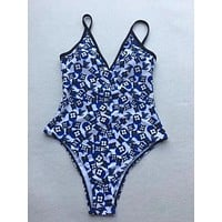 LV Louis Vuitton Blue Fashion Beach Women Strapless one Piece Set Bikini Swimsuit Swimwear