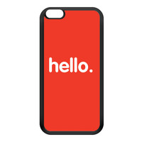 Hello Black Silicon Rubber Case for iPhone 6 Plus by textGuy