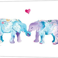 Elephants in Love Animal Canvas Wall Art Print by Green Girl Canvas