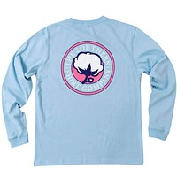 Sig Logo Long Sleeve Tee Shirt in Placid Blue by The Southern Shirt Co.