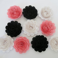 "10 Pink Black and White Roses, large 3"" paper flowers, Girly decor, Teen bedroom wall decor, Wedding decorations, Bridal shower gift idea"