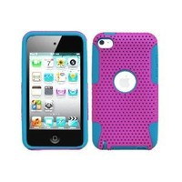 Blue & Purple Hybrid 2 in 1 Gel Rubber Skin Cover and Molded Premium Hard Plastic Case for Apple iPod Touch 4G 4th Generation