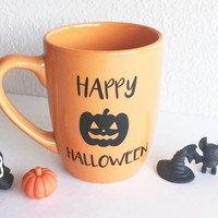 Happy Halloween Pumpkin Mug // Orange - Multi-purpose Container - Coffee Mug - Makeup Holder - Decor - Drinking Mug