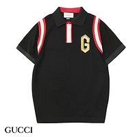GUCCI New fashion embroidery letter couple top t-shirt Black