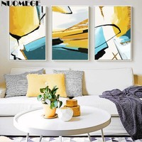 NUOMEGE Abstract Painting Gold Minimalist Wall Art Lines Posters and Prints Decorative Wall Pictures For Living Room Decoration