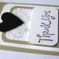 6 Bridesmaids' Gift Tags, Handmade, Taupe and White and Black, Weddings