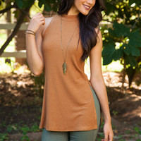 From the Hip Ribbed Top - Camel