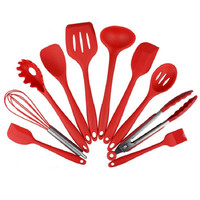 New 10Pcs Silicone Kitchen Utensils Cooking Utensil Set Spatula Spoon Ladle Spaghetti Server Slotted Turner Cooking Tool #229565