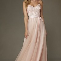 Long Embroidered-Bodice Sweetheart Gown
